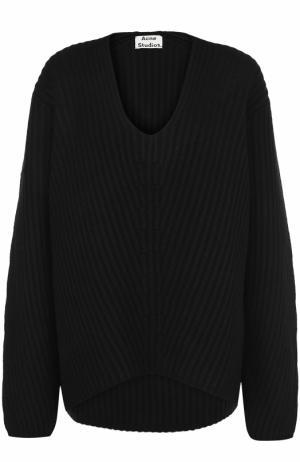 Шерстяной пуловер фактурной вязки с V-образным вырезом Acne Studios. Цвет: черный