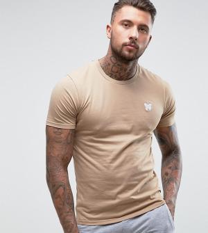 Good For Nothing Облегающая футболка песочного цвета с принтом на груди Nothin. Цвет: светло-бежевый