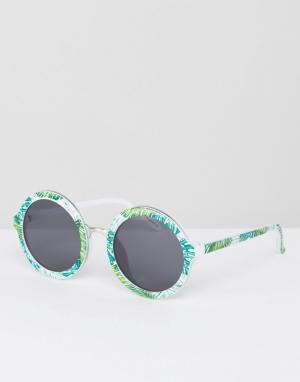 Skinnydip Круглые солнцезащитные очки с принтом пальм. Цвет: мульти