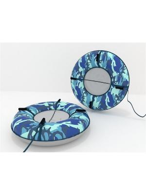 Санки-ватрушка (тюбинг) 100 см Камуфляж SPORTREST. Цвет: синий, серый, голубой, серебристый