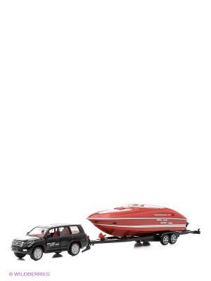 Машина с катером SIKU. Цвет: черный