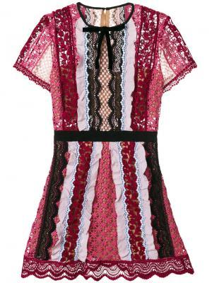 Короткое платье Panelled Bellis Self-Portrait. Цвет: розовый и фиолетовый