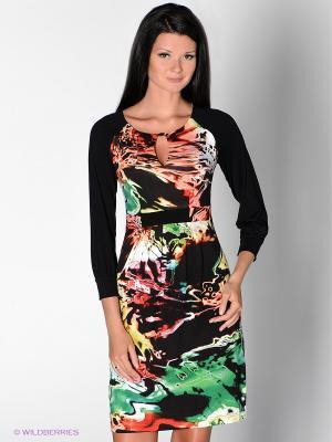 Платье MARY MEA. Цвет: черный, коралловый