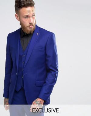 Farah Облегающий пиджак из саржи. Цвет: синий