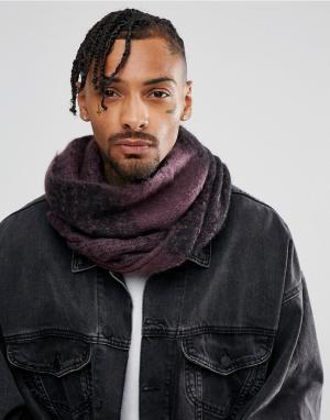 ASOS Черно-фиолетовый шарф-снуд в стиле оверсайз. Цвет: фиолетовый