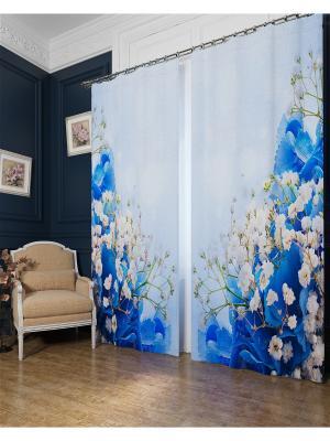 Фотошторы Голубой букет, Блэкаут Сирень. Цвет: голубой, бежевый, белый, серый