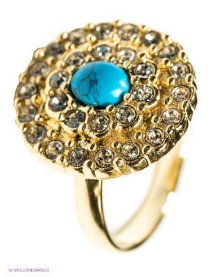 Кольцо Jenavi. Цвет: золотистый, бирюзовый