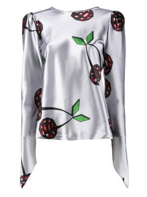 Атласная блузка Natasha Zinko. Цвет: серый