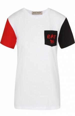 Хлопковая футболка прямого кроя с контрастной отделкой Etre Cecile. Цвет: разноцветный