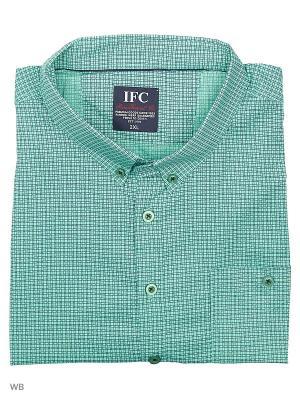 Рубашка IFC. Цвет: светло-зеленый, серый