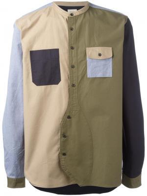 Лоскутная рубашка Wooster + Lardini. Цвет: многоцветный