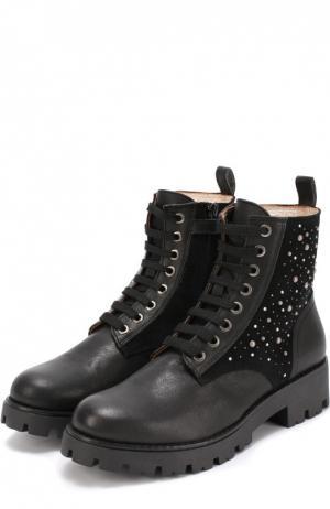 Комбинированные ботинки с заклепками Monnalisa. Цвет: черный