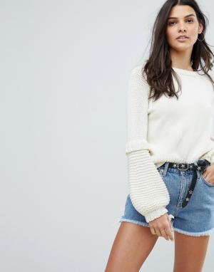 MiH Jeans Джемпер с пышными рукавами. Цвет: кремовый