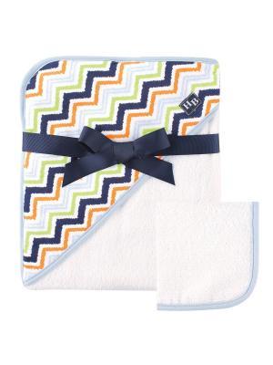 Комплект Полотенце с капюшоном и салфетка Hudson Baby. Цвет: голубой