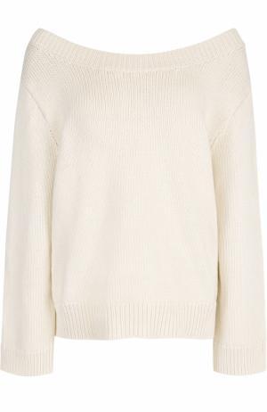 Вязаный пуловер свободного кроя с круглым вырезом The Row. Цвет: бежевый