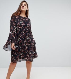 Unique 21 Hero Plus Свободное платье с цветочным принтом и расклешенными рукавами 2. Цвет: черный