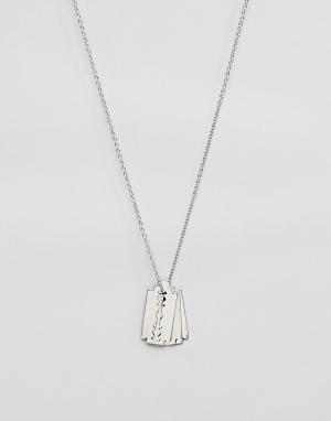 Cheap Monday Ожерелье с подвеской в виде лезвий. Цвет: серебряный