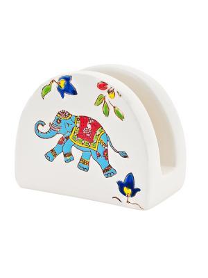 Салфетница Слон голубой  в п/у Elff Ceramics. Цвет: белый, коричневый