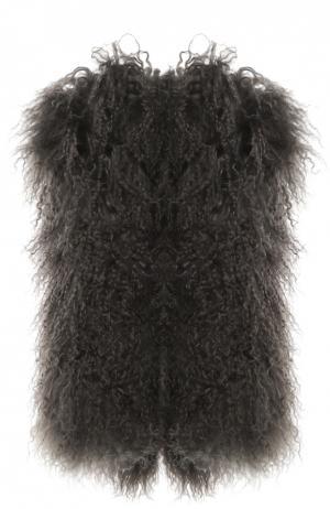 Меховой жилет без рукавов Petit Nord. Цвет: серый