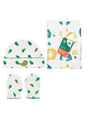 Комплект Салфетки для кормления, 2 шт + Шапочка и рукавички-антицарапки, пр. HappyBabyDays. Цвет: зеленый, желтый, белый