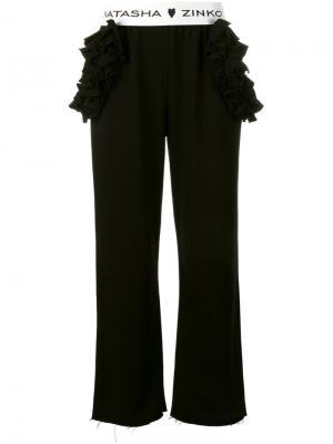 Широкие брюки с рюшами Natasha Zinko. Цвет: чёрный