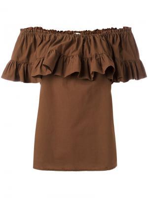 Блузка со сборками и открытыми плечами Hache. Цвет: коричневый