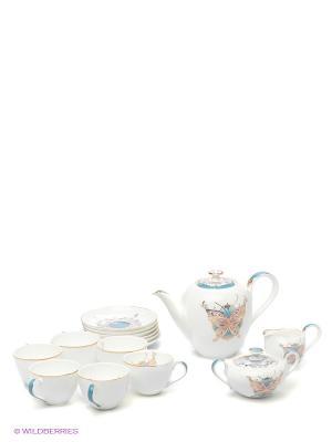 Чайный сервиз на 6 перс. Песня Мотылька (Canzone Falena Pavone) Pavone. Цвет: белый, голубой, золотистый