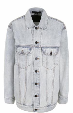 Удлиненная джинсовая куртка прямого кроя Denim X Alexander Wang. Цвет: голубой