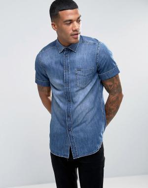 Diesel Джинсовая рубашка классического кроя с короткими рукавами D-KEN. Цвет: синий