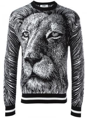 Толстовка с рисунком льва MSGM. Цвет: чёрный