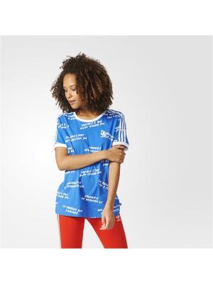 Футболка спортивная жен. 3 STRIPES TEE Adidas. Цвет: синий