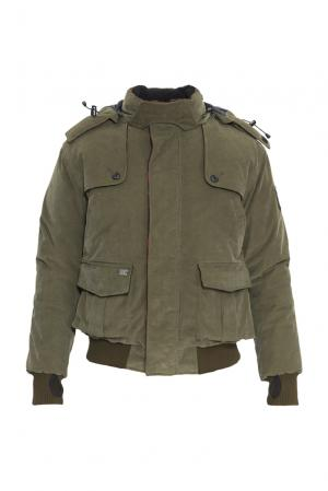 Велюровый пуховик с капюшоном и мехом койота 152463 Nobis. Цвет: зеленый