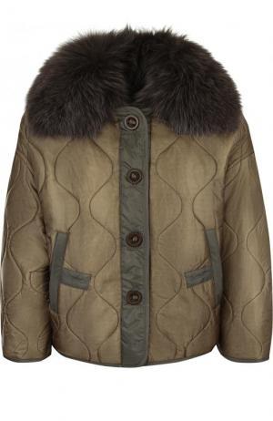 Стеганая куртка свободного кроя с отделкой из меха лисы Army Yves Salomon. Цвет: хаки
