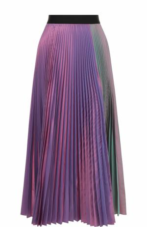 Плиссированная юбка-миди с контрастным поясом Christopher Kane. Цвет: разноцветный