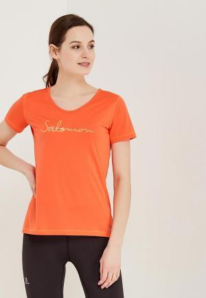 Футболка спортивная Salomon. Цвет: оранжевый