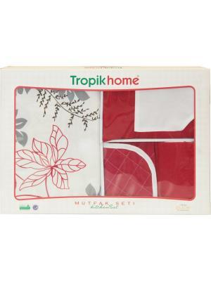 Кухонный набор  ЛЮКС 4 пр: скатерть 130х170 см, фартук, рукавичка, прихватка Dorothy's Нome. Цвет: красный