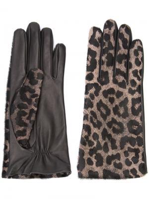 Перчатки с леопардовым узором Perrin Paris. Цвет: чёрный