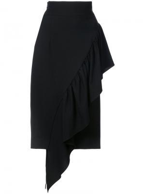 Асимметричная юбка с оборками Milly. Цвет: чёрный