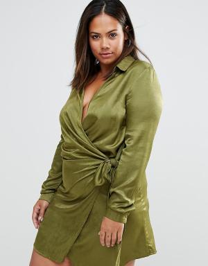Missguided Plus Атласное платье большого размера с запахом и завязкой. Цвет: зеленый