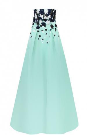 Шелковое платье в пол с контрастной цветочной отделкой Oscar de la Renta. Цвет: бирюзовый