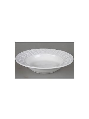 Тарелка глубокая белая с вязаным рисунком,22см Elff Ceramics. Цвет: белый