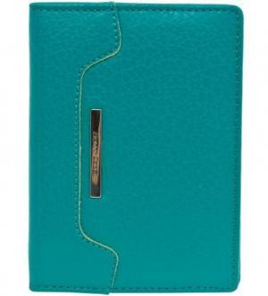Обложка для паспорта с шестью кармашками пластиковых карт Gianni Conti. Цвет: бирюзовый