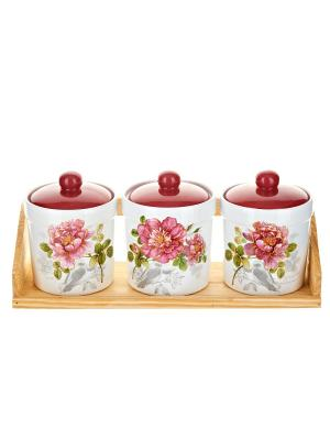 Набор банок для сыпучих продуктов Райский сад, Polystar. Цвет: розовый