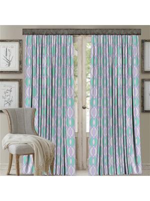 Комплект штор, Кружки, печать 150*270 МарТекс. Цвет: лиловый, салатовый