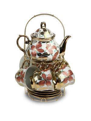 Чайный набор фарфор Florance. Цвет: белый, голубой, коралловый, золотистый
