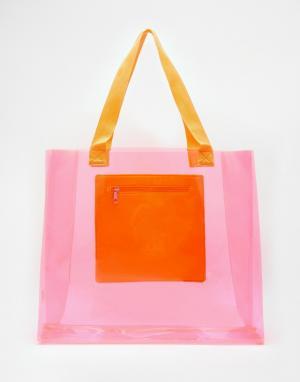 Echo Прозрачная пляжная сумка с карманом. Цвет: hot pink