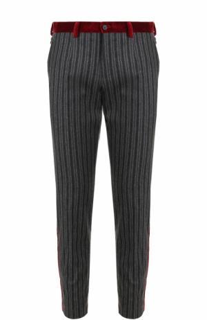 Брюки прямого кроя из смеси шерсти и хлопка с контрастными лампасами Dolce & Gabbana. Цвет: темно-серый