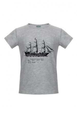 Хлопковая футболка LISA&LEO. Цвет: серый