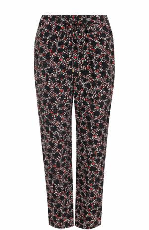 Шелковые брюки прямого кроя с принтом MICHAEL Kors. Цвет: черный