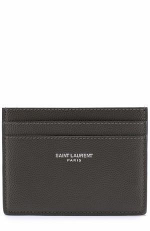 Кожаный футляр для кредитных карт Paris Saint Laurent. Цвет: хаки
